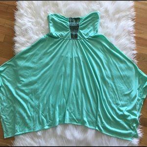 🌺Roxy strapless green dress size small